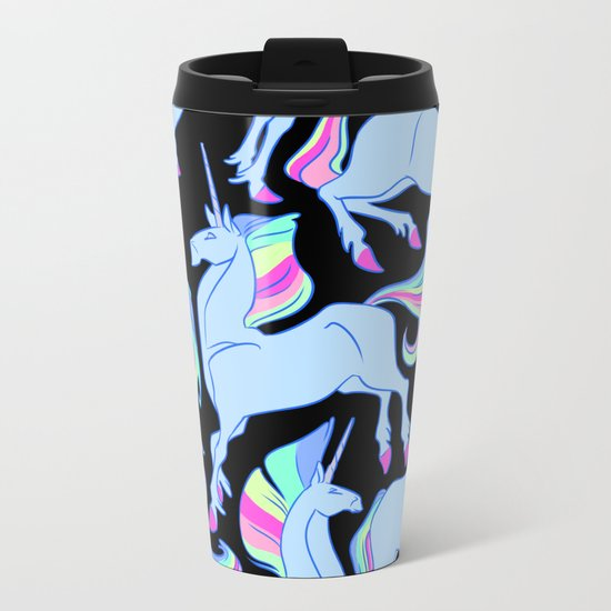 Ultraviolet rainbow unicorns Metal Travel Mug
