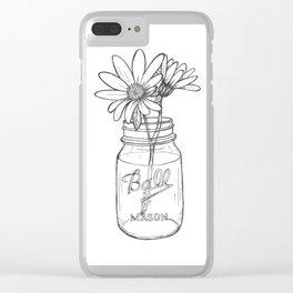 Flowers in a Jar   Mason Ball Jar Sunflowers Daisies Clear iPhone Case