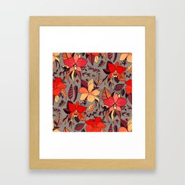 Red Tropical Floral Framed Art Print