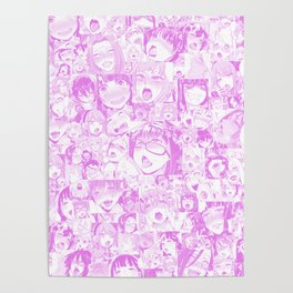 Pastel Ahegao Collage Poster