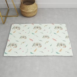 Light mint green pink white cute easter bunny floral Rug