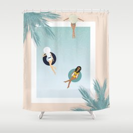 Summer Pool Day with friends Shower Curtain
