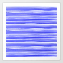 Girly Artsy Ocean Blue Abstract Stripes Art Print