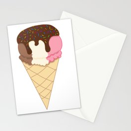 Chocolate dipped Neapolitan with Rainbow Sprinkles Stationery Cards