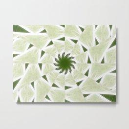 Green White Kaleidoscope Art 2 Metal Print