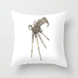 Scissorhands (Sepia-L) Throw Pillow
