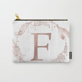 Letter F Rose Gold Pink Initial Monogram Carry-All Pouch