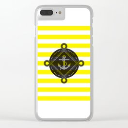 Nautica Yellow Stripes Clear iPhone Case