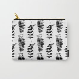 Hand painted watercolor black white fern floral leaves Carry-All Pouch