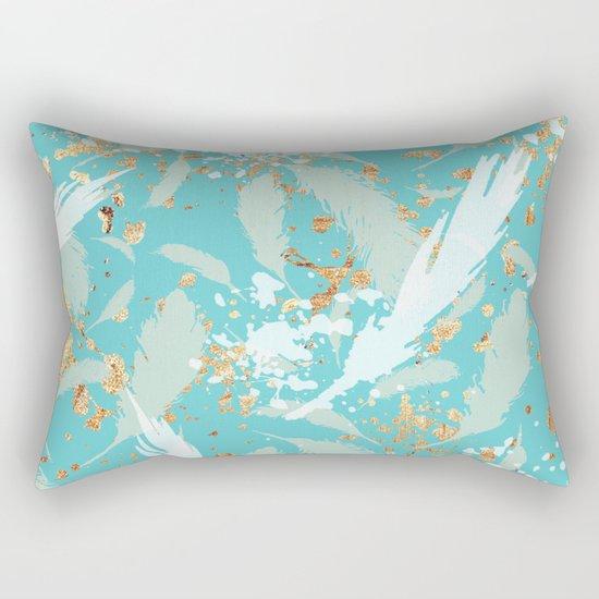 Feather peacock peach mint #2 Rectangular Pillow