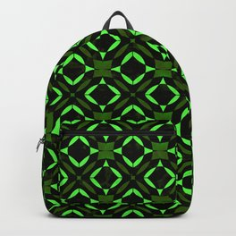 Art Deco Tile Pattern Lime And Green On Black Backpack