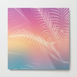 Gradient Tropical leaves Metal Print