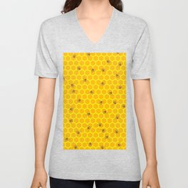 Mind Your Own Beeswax / Bright honeycomb and bee pattern Unisex V-Neck