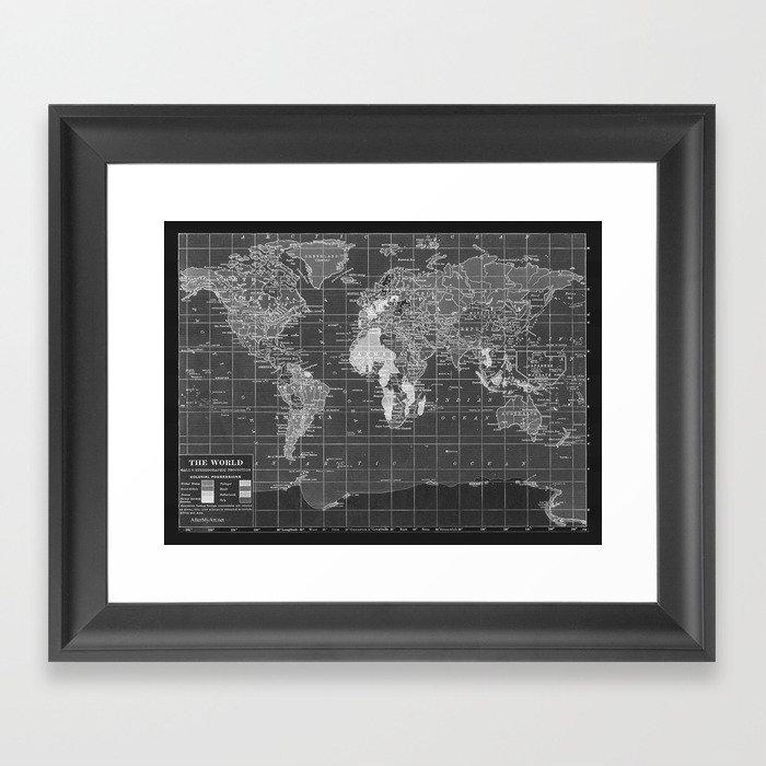 Black And White World Map Framed.Black And White Vintage World Map Framed Art Print By