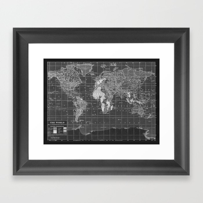 Black And White World Map Framed.Black And White Vintage World Map Framed Art Print By