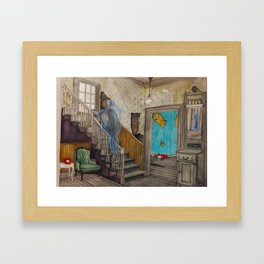 The Red Phone in the Staircase Foyer Framed Art Print