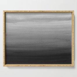 Touching Black Gray White Watercolor Abstract #1 #painting #decor #art #society6 Serving Tray