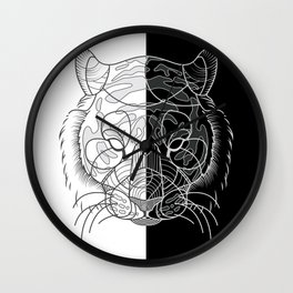 Tiger B&W Wall Clock