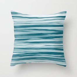 Tropical Dark Teal Inspired by Sherwin Williams 2020 Trending Color Oceanside SW6496 Soft Focus Motion Blue Water Color Blend Throw Pillow