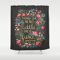 sassy Shower Curtains featuring Little & Fierce on Charcoal by Cat Coquillette