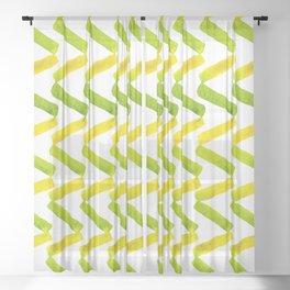 Chartreuse + Lemon Watercolor Chevron  Sheer Curtain