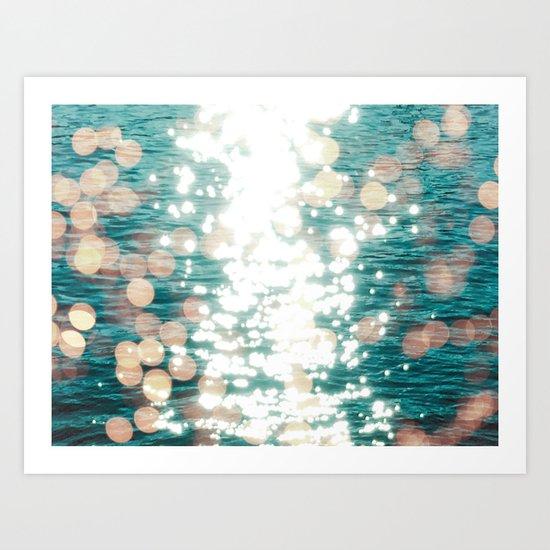 Sun glitter - golden light Art Print