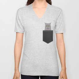 Kai - British shorthair cat gifts for cat lovers and cat lady gifts.  Cat people gifts Unisex V-Neck