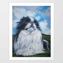 Japanese Chin dog art from an original painting by L.A.Shepard Art Print
