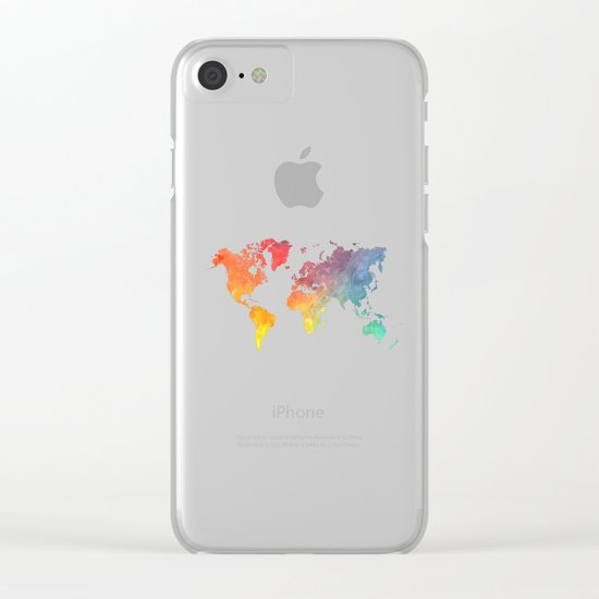Map of the world colored Clear iPhone Case