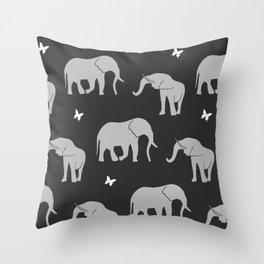 Animal Pattern Grey Elephants And Butterflies Throw Pillow