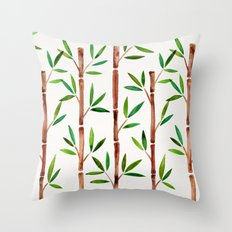Bamboo Stems – Green Leaves Throw Pillow