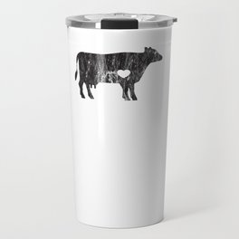 I Love Cows Cute Cattle Bovine Farmer Rancher Black Distressed Travel Mug
