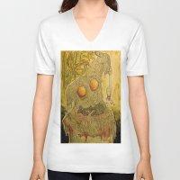 pasta V-neck T-shirts featuring Killer Pasta by Marcelo O. Maffei