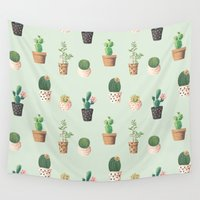 succulents Wall Tapestries featuring Succulents  by Tasteful Tatters