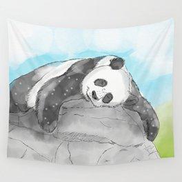 Sleepy Panda Watercolor Wall Tapestry
