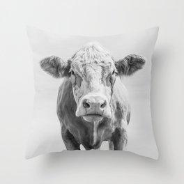 Animal Photography   Cow Portrait Minimalism   Farm animals   black and white Throw Pillow