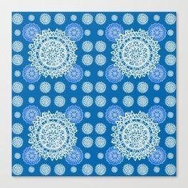 Bright Blue and Silver Kaleidoscope Mandala Pattern Canvas Print