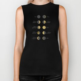 The Lunar Cycle • Phases of the Moon – Black & Gold Palette Biker Tank