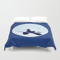 ponyo Duvet Covers featuring Kiki's Delivery Service Poster by Fluffy Pancakes