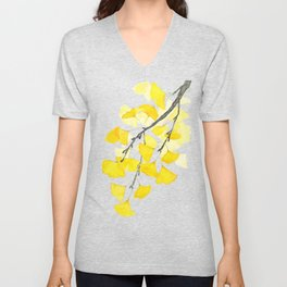 Golden Ginkgo Leaves Unisex V-Neck