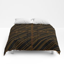 Art Deco Golden Lines Comforters