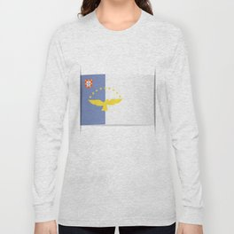 Flag of Azores. The slit in the paper with shadows. Long Sleeve T-shirt