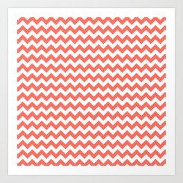 Living Coral Chevron Stripes Art Print