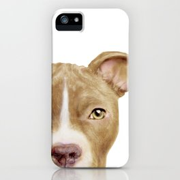 Pitbull light brown Dog illustration original painting print iPhone Case