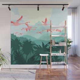 Flamingos flying through the Tropics Wall Mural