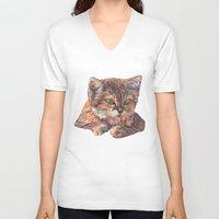 meow V-neck T-shirts featuring Meow by Emma Reznikova