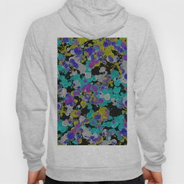 Dark Splatter - Abstract, paint splatter pattern in black, cyan, yellow, white and green Hoody