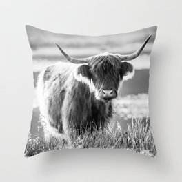 Scottish Highland Cattle in black and white Throw Pillow