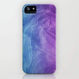 Spiritual Purple Blue   Mixed Media Marble Texture iPhone Case