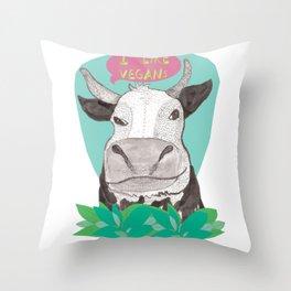 "cow says ""I like Vegans"" Throw Pillow"
